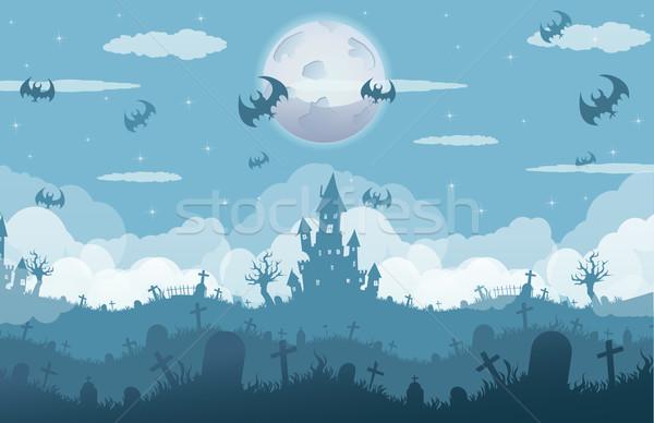 Halloween nuit nuages enfants forêt fond Photo stock © lindwa