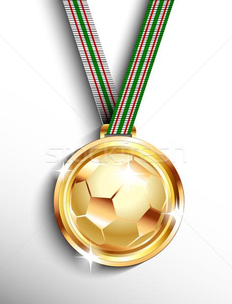 Altın futbol madalya futbol top kırmızı Stok fotoğraf © lindwa