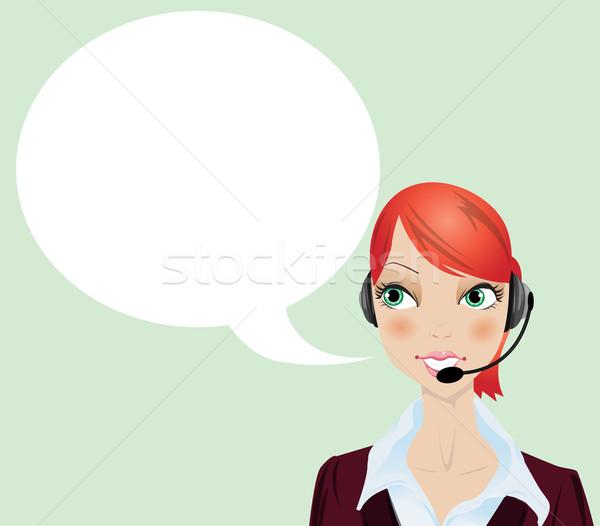 Kız gülümseme telefon mutlu kulaklık takım elbise Stok fotoğraf © lindwa