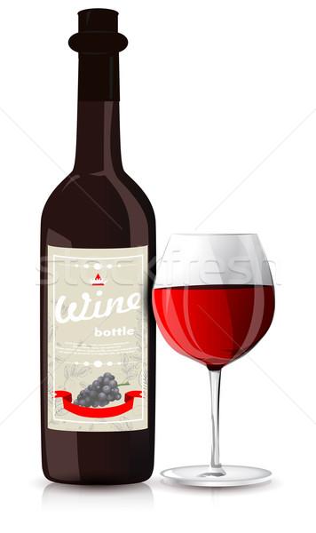 Bottiglia vetro bottiglia di vino vino blu rosso Foto d'archivio © lindwa