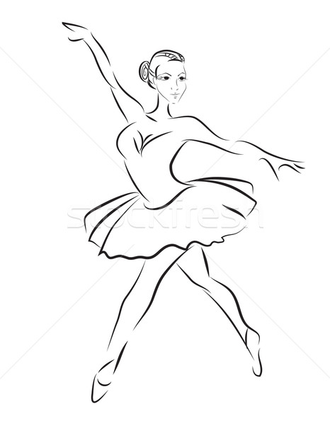 Vektor Kontur Skizze Ballett-Tänzerin Mädchen Tanz Stock foto © lindwa