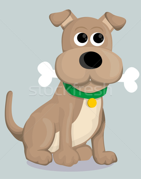 Cute cartoon dog bone mond grappig jonge Stockfoto © lindwa
