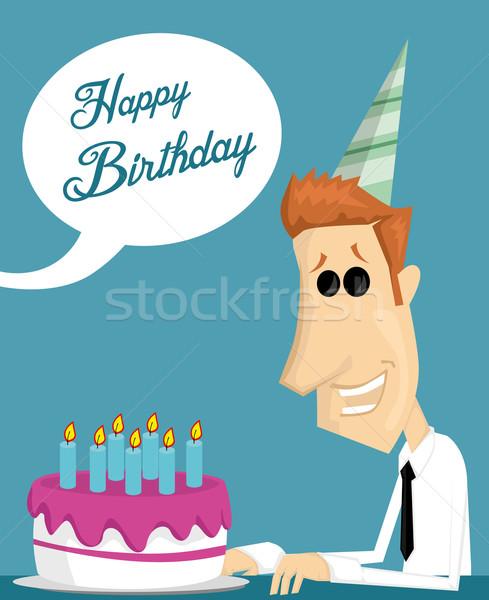 Rajz irodai dolgozó születésnapi torta iroda étel férfi Stock fotó © lindwa