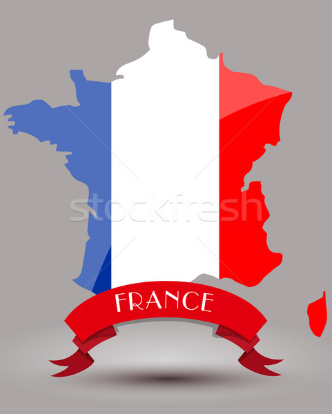 Franciaország zászló térkép világ piros fehér Stock fotó © lindwa