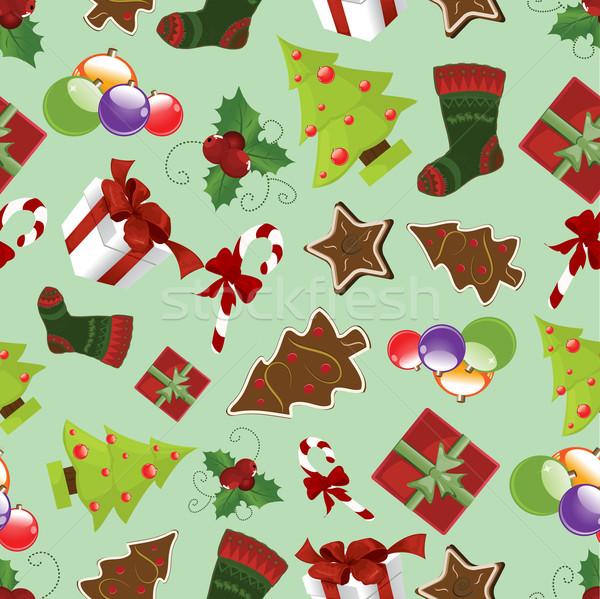 Végtelenített karácsony textúra háttér tél cukorka Stock fotó © lindwa
