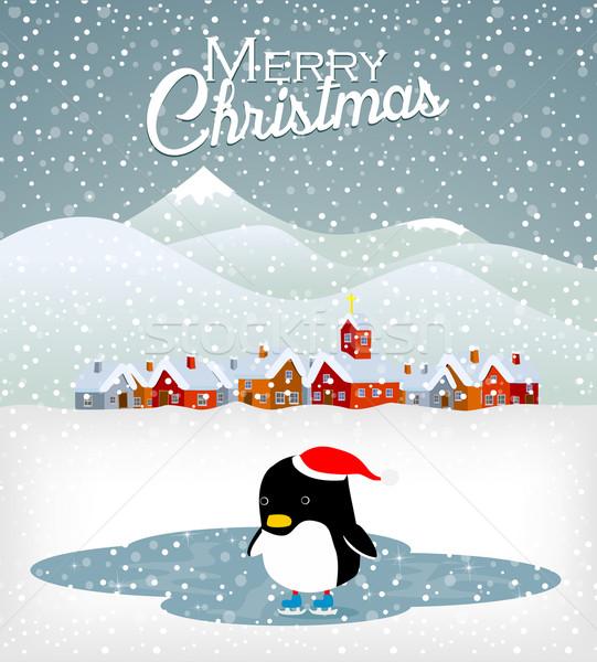 Cute Noël pingouin bébé neige fond Photo stock © lindwa