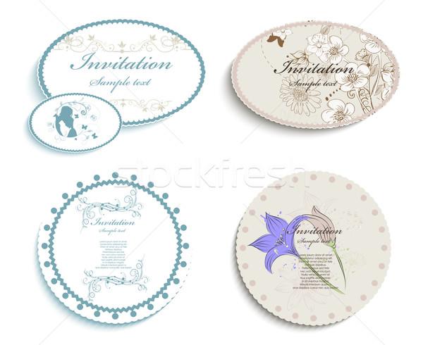 Convite cartões casamento abstrato projeto retro Foto stock © lindwa