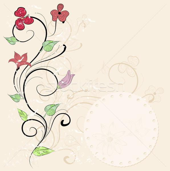 Vintage floral carte design wallpaper mariage Photo stock © lindwa