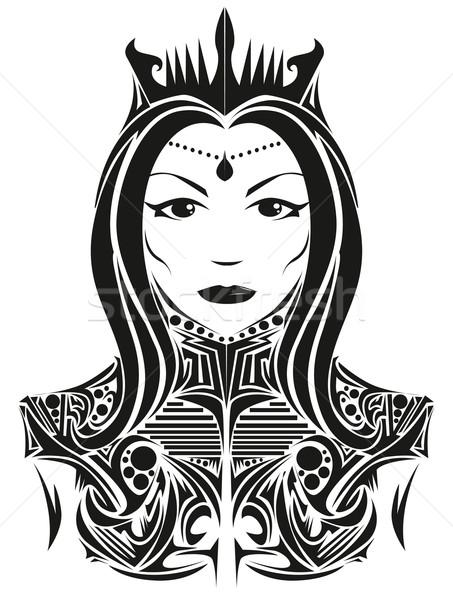 Abstrato rainha cara lábios preto silhueta Foto stock © lindwa