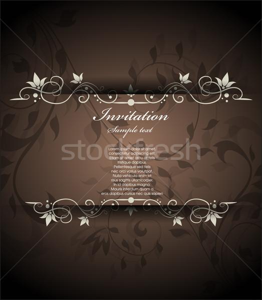 Vintage floral invitation amour anniversaire fond Photo stock © lindwa