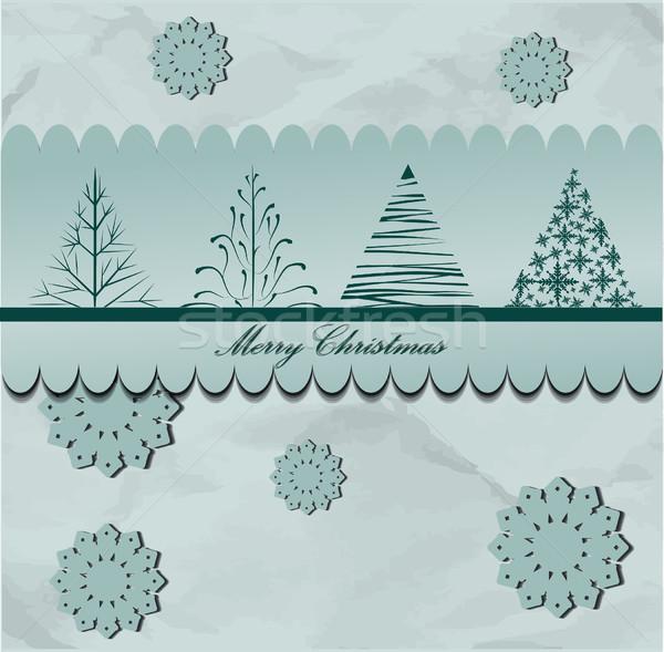 Kerstboom ontwerp abstract natuur winter Blauw Stockfoto © lindwa
