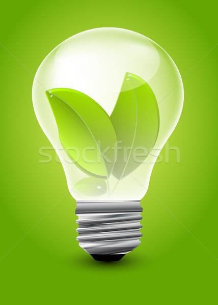 Eco ampoule lumière verre vert lampe Photo stock © lindwa