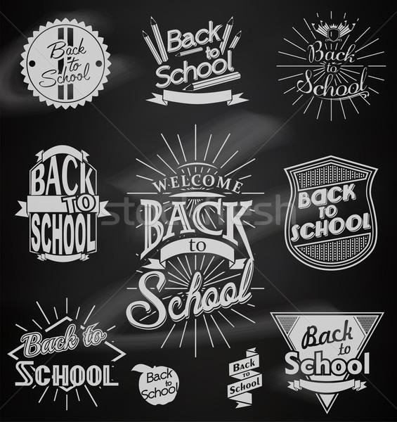 Vissza az iskolába kalligrafikus dizájnok oktatás felirat hát Stock fotó © lindwa
