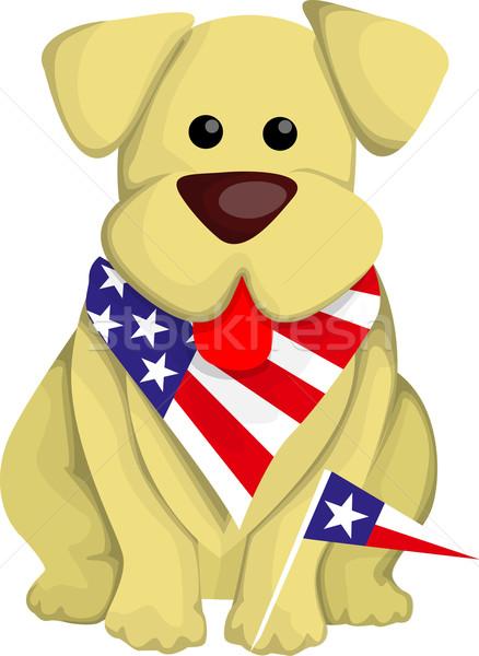 Rajz USA kutya kék zászló szabadság Stock fotó © lindwa