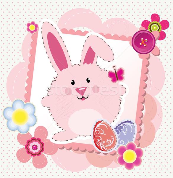 Páscoa cartão primavera grama arte cartão Foto stock © lindwa