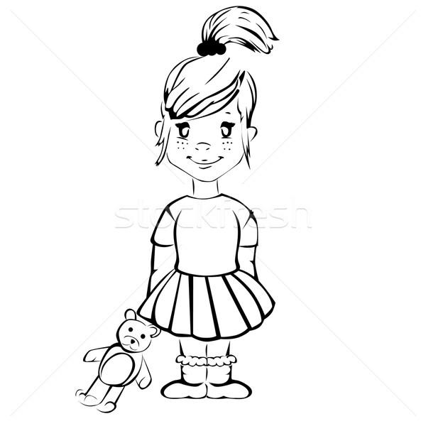 Aranyos rajz lány plüssmaci boldog szépség Stock fotó © lindwa
