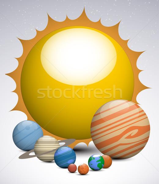 太陽系 惑星 空 世界中 太陽 月 ストックフォト © lindwa