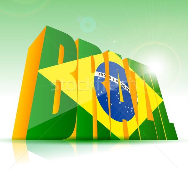 Vektor Brazília szó szöveg zászló futball Stock fotó © lindwa