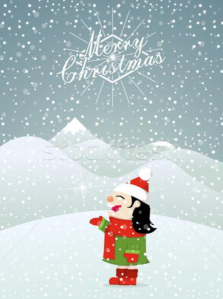 Noël petite fille neige heureux design Photo stock © lindwa
