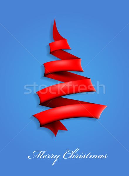 Fita árvore de natal estrela cor cartão branco Foto stock © lindwa