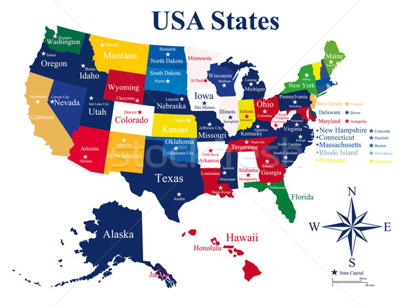 USA map with states and capital cities Stock photo © lindwa