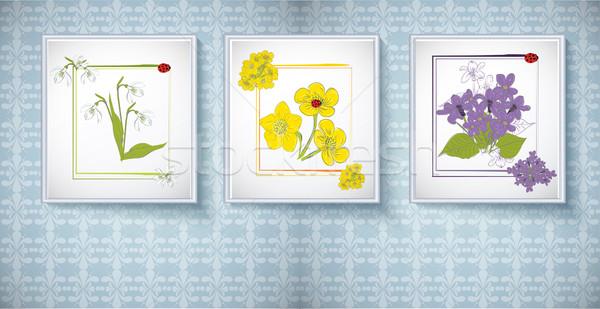 Cadres photos floral ornements fleur design Photo stock © lindwa