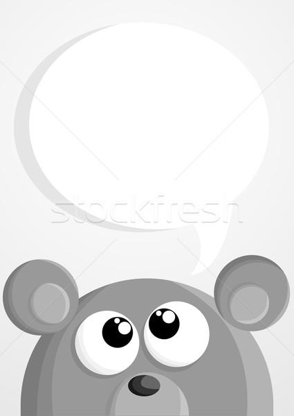 Bonitinho desenho animado mouse balão de fala arte pensando Foto stock © lindwa