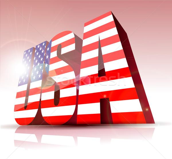 Vecteur USA mot texte pavillon graphique Photo stock © lindwa