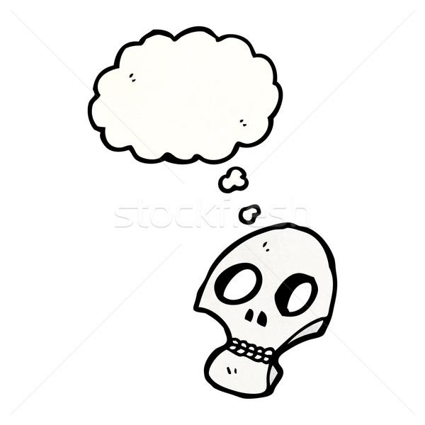 Stok fotoğraf: Duvar · yazısı · stil · kafatası · düşünce · balonu · konuşma · Retro