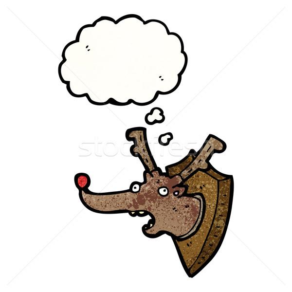 Desenho animado recheado natal rena cabeça retro Foto stock © lineartestpilot