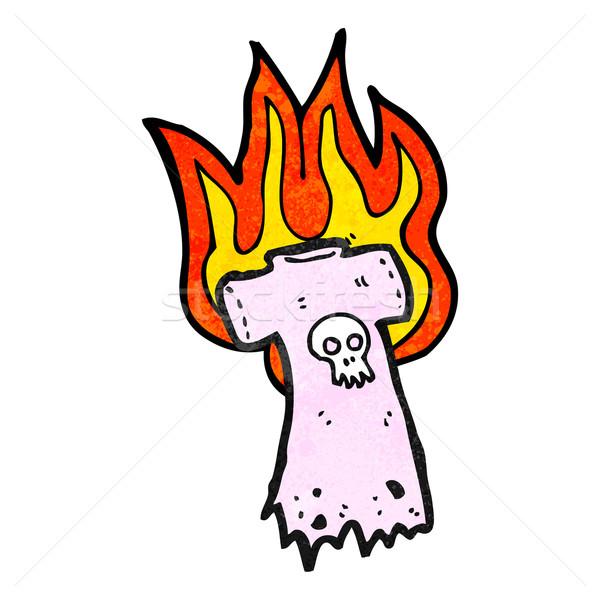 burning skull tee cartoon Stock photo © lineartestpilot