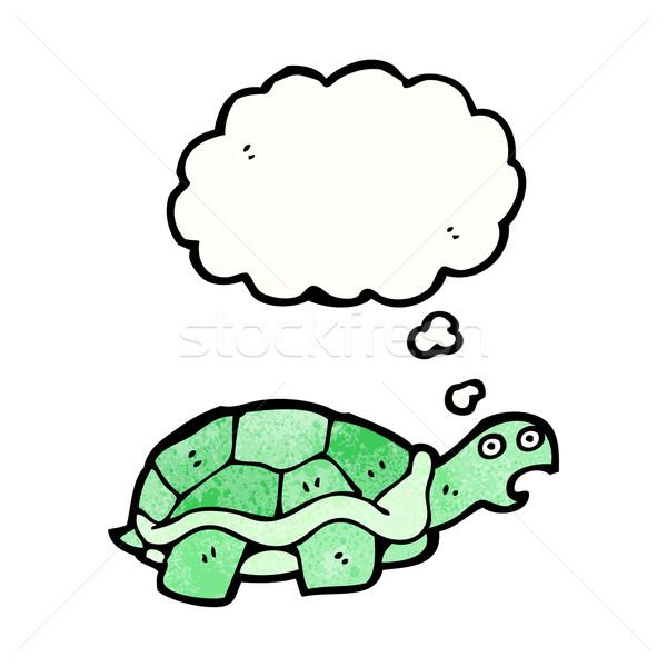 Karikatür Kaplumbağa Sanat Retro çizim Fikir Vektör