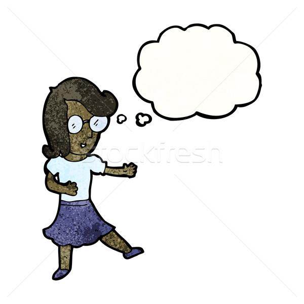 Cartoon intelligente donna retro femminile disegno Foto d'archivio © lineartestpilot
