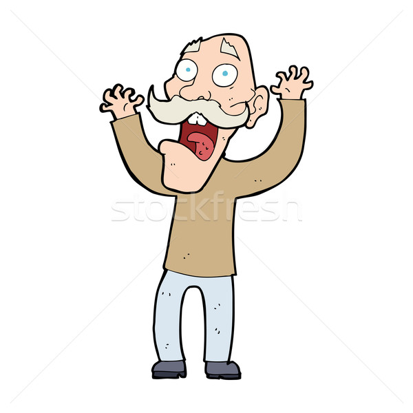 cartoon old man getting a fright Stock photo © lineartestpilot