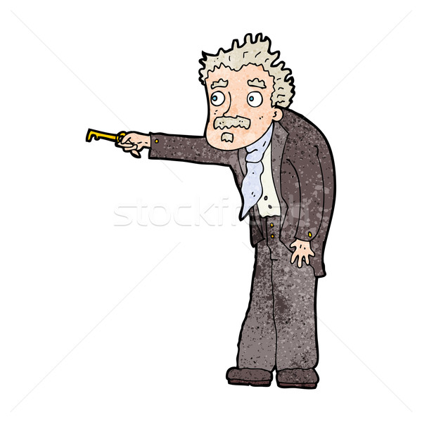 cartoon man trembling with key unlocking Stock photo © lineartestpilot