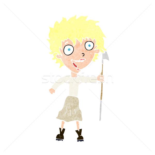 Cartoon gek vrouw speer ontwerp kunst Stockfoto © lineartestpilot