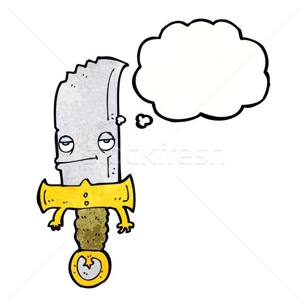 Faca balão de pensamento mão projeto louco Foto stock © lineartestpilot