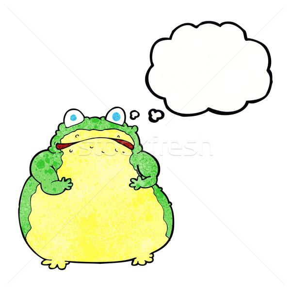 Cartoon grasso rospo bolla di pensiero mano design Foto d'archivio © lineartestpilot