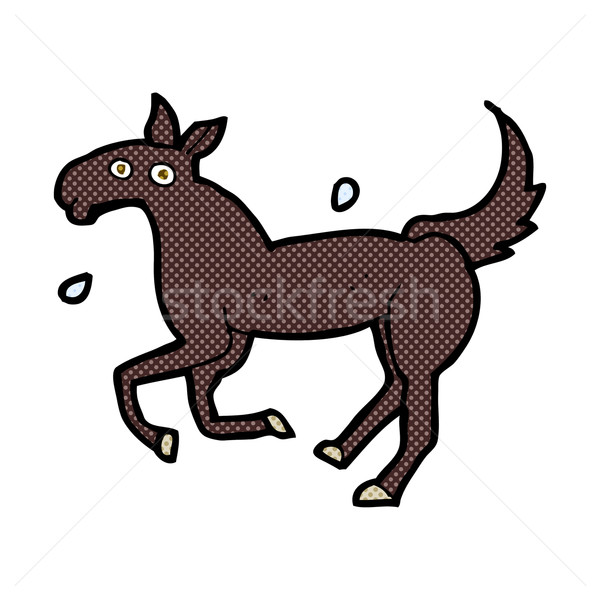 comic cartoon horse sweating Stock photo © lineartestpilot