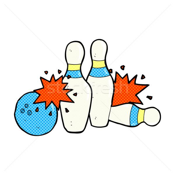 Fumetto cartoon palla da bowling retro stile Foto d'archivio © lineartestpilot