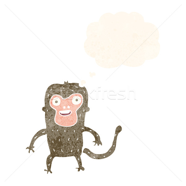 Cartoon małpa bubble myśl strony szczęśliwy projektu Zdjęcia stock © lineartestpilot