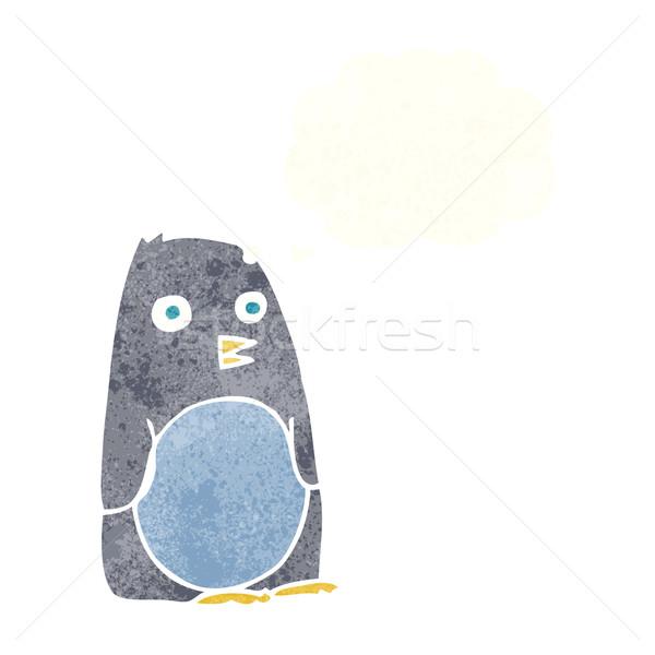 Cartoon пингвин мысли пузырь стороны дизайна искусства Сток-фото © lineartestpilot