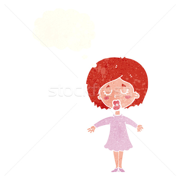 cartoon woman in dress with thought bubble Stock photo © lineartestpilot