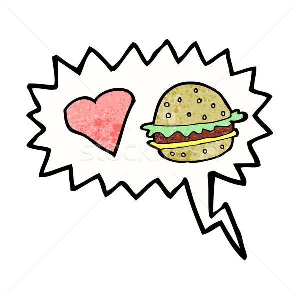 cartoon hamburger with speech bubble Stock photo © lineartestpilot