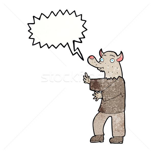 Karikatür kurt adam konuşma balonu el dizayn sanat Stok fotoğraf © lineartestpilot