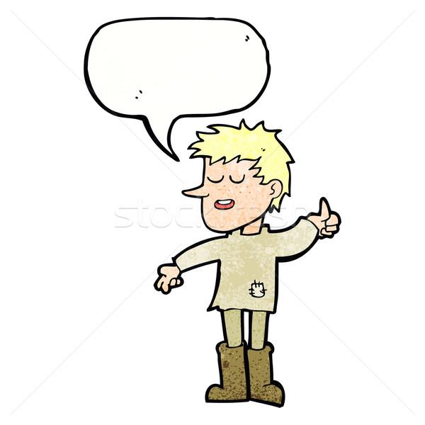 cartoon poor boy with positive attitude with speech bubble Stock photo © lineartestpilot