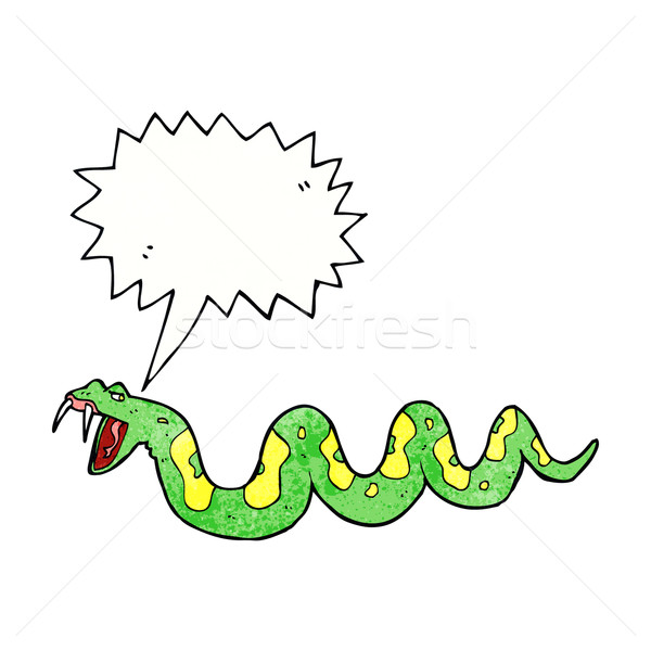 cartoon poisonous snake with speech bubble Stock photo © lineartestpilot