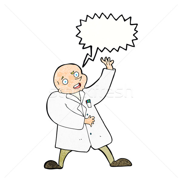 cartoon mad scientist with speech bubble Stock photo © lineartestpilot
