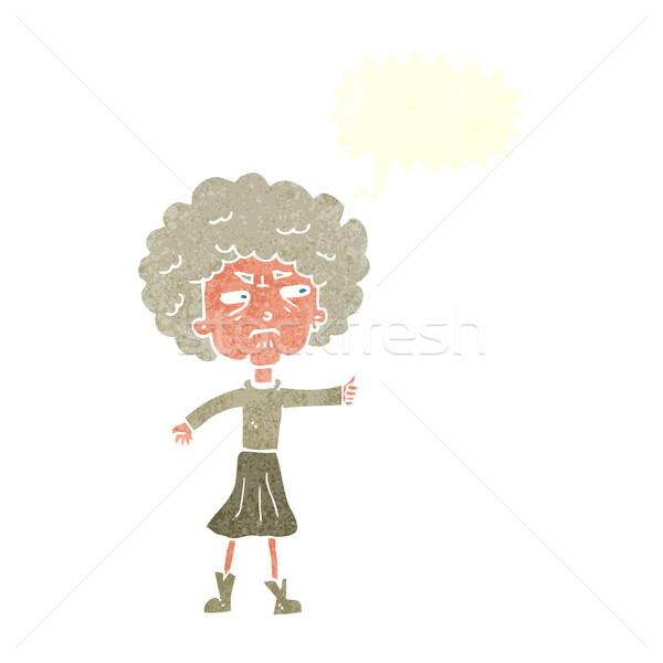 Cartoon agacé vieille femme bulle femme main Photo stock © lineartestpilot