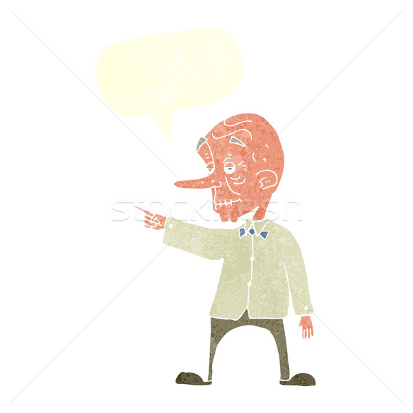 Cartoon viejo senalando bocadillo mano hombre Foto stock © lineartestpilot